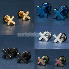 1 Pair Fashion Rock Women Men Stainless Steel Cross Ear Studs Earrings Jewelry