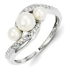 Sterling Silver Rhodium Plated Diamond and FW Cultured Pearl Ring QR4617