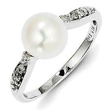 Sterling Silver Rhodium Plated Diamond and FW Cultured Pearl Ring QR4652