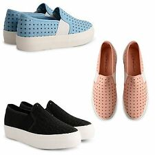 WOMEN PLIMSOLLS TRAINERS PUMPS SNEAKERS SLIP ON CANVAS ESPADRILLES SHOES SIZE