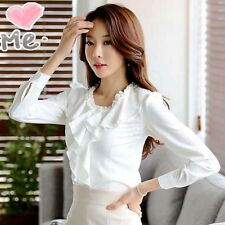 Women Elegant OL Career Retro Ruffle O-Neck Long Sleeve Chiffon Shirt Blouse Top