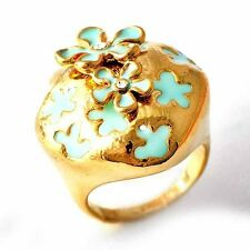 Vogue Clear Zircon /Enamel Flower Love Ring Yellow Gold Filled Size7,8,9