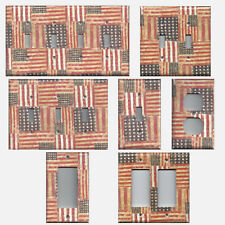 Light Switch Covers Rustic American Flags Red Off White Blue Wall Outlet Covers