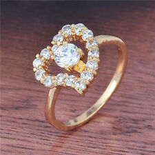 Lovely 18K Yellow Gold Filled crystal Crystals Sweet Heart Ring,Size 6,7,8,9