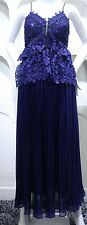 Floral Purple Lace Double Peplum Blue Spaghetti Strap Midi Dress