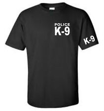 K9 Unit Police T-Shirt Black Double Sided Mens Tee