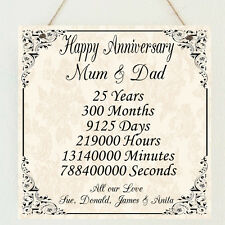 Personalised Wedding Anniversary / Birthday Marriage Plaque Gift Present Unique