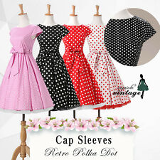 Women's 1950s Vintage Rockabilly Swing Pinup Dress Cap Sleeves Polka Dot