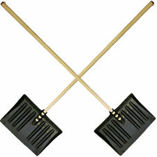 2x Snow shovel with wooden shaft and black scoop 38 x 30.5 cm NEW.