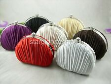 Champagne Pleated Evening Solid Clutch Designed a Shell 7 Colors Lots in Stock