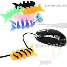 1pc Silicone Rubber Fish Bone Headphone Earphone Cord Winder Wrap Cable Holder