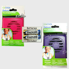 O2 Cool Deluxe Necklace Fan w/BATTERIES Personal Neck Blows Air Upward NIB NEW