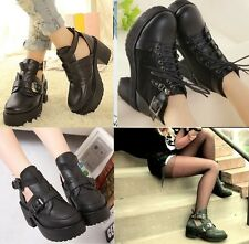 Chelsea Chunky Heel Cut Out Buckle/ Lace up Platform PU Leather Ankle Croc Boots
