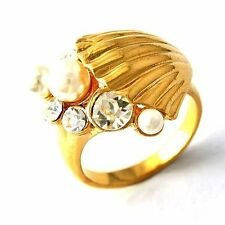 Artistic White Pearl/ Clear Zirconia Fan shells Womens Ring Size 8 9
