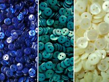 Small 11mm 18L Cream Royal Blue Green 2 Hole Shirt Buttons Sewing Craft ML6-PQR