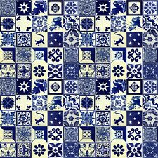BLUE & WHITE Mexican Tile Handmade Talavera Backsplash Handpainted Mosaic