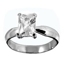 1ct Cubic Zirconia Emerald Cut Rectangle Sterling Silver Ring, Size 5,6,7,8,9,10