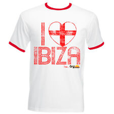 I Love Ibiza Men's T-shirt England Flag Vintage Top UK White Red Navy Ringer