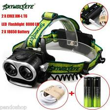 8000LM 2X XM-L T6 LED Headlamp Head Light Rechargeable USB+2x 18650 Battery Hot