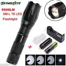 5000LM XM-L T6 LED Zoomable Tactical Flashlight Torch + 18650 Battery + Charger