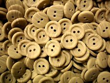 Small 15mm Plain Wooden Wood Natural Shirt Craft Shirt 2 Hole Buttons (W192)
