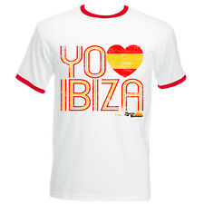 I Love Ibiza Men's T-shirt Spain Flag Vintage Top White Red Navy Contrast