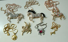 Gold Plated Necklaces Brooch Simulated Gemstones Horse Pendant 9k Pegasus