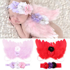 Newborn Kids Baby Feather Angel Wings Flower Hair Band Photography Prop Stylish