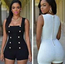 Womens Sleeveless Buttons Rompers Brief Clubwear Bodycon Jumpsuits Playsuits W