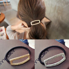 Metal Hollow Hair Cuff Stretch PonyTail Elastic Rope Band Hair Tie Holder Ring