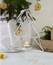 White Christmas Tree Votive Tea Light Candle Holder Metal Wire Xmas Ribbon Bells