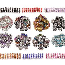 100Pcs Crystal Rhinestone SILVER PLATED Rondelle Spacer Beads Jewel DIY 6/8MM