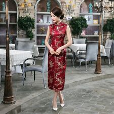 Traditional Chinese Sleeveless Women's Silk Satin Long Dress Cheong-sam Scarlet