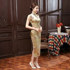 Noble Yellow Chinese Sleeveless Women's Silk Satin Long Dress Cheong-sam S-3XL