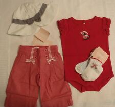 GYMBOREE Girls 0-3 Month Venice Sweetie Bodysuit Pants Hat Socks Outfit NWT