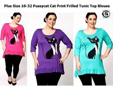 LADIES PLUS SIZE 16-32 XXXXL CAT PRINT FRILLED TUNIC TOP BLOUSE PUSSYCAT T-SHIRT