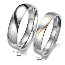 Stainless Steel Real Love Heart Couple Rings Engagement Wedding Band Lovers Ring