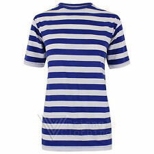 Mens Blue White Stripe T shirt Nautical Sailor Football Stripey Birmingham QPR