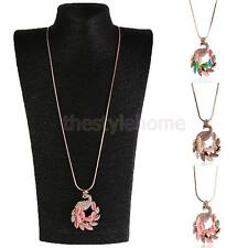 Romantic Faux Cat's Eye Zircon Peacock Princess Sweater Chain Long Necklace Gift