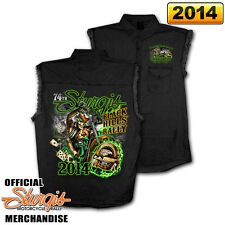 2014 Sturgis Motorcycle Rally Wild Bill Black Sleeveless Denim Shirt