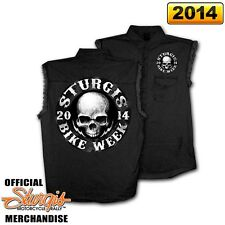 2014 Sturgis Motorcycle Rally Circle Skull Sleeveless Denim Shirt