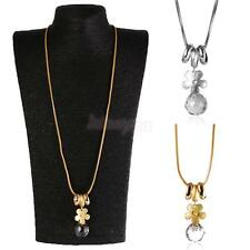 Sweater Chain Necklace Crystal Charm Flower Pendant Rhinestone Women Jewelry