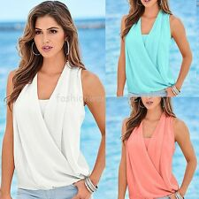 Womens Casual Summer V Neck Choker Collar Chiffon Blouses New T-Shirts FE