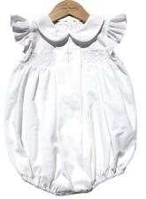 Sweet Dreams Baby Girl Christening Baptism Bubble Set Outfit Smocked White Cross