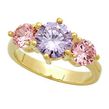 Women's Gold Plated 3-Stone Round Pink & Light Purple CZ Ring