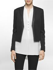 calvin klein womens scuba faux leather trim jacket