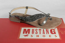 Mustang Ladies Thong flip-flops Ankle-strap sandal Real leather grey new