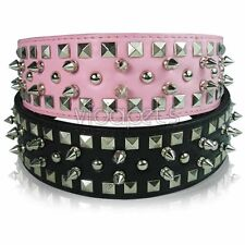 Spiked Spikes Studed Studs Leather Dog Collar Square