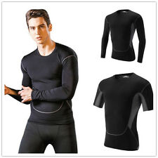 Mens Compression Baselayer Body Thermal Under Base Layer Skin T-Shirt Tight Tops