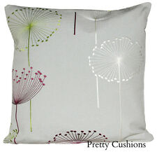Sanderson Dandelion Clocks Embroidery Blackcurrant & Silver Cushion Cover
